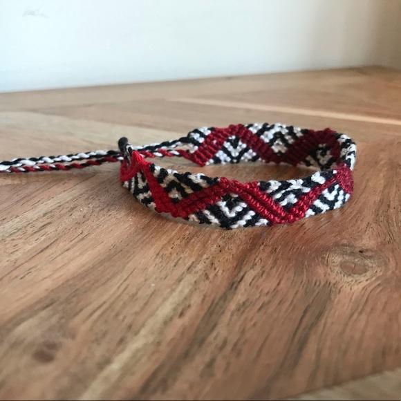 Friendship Bracelet Red Ombre on Black Cotton Cord Red Friendship Bracelet Friendship Bracelet with Clasp